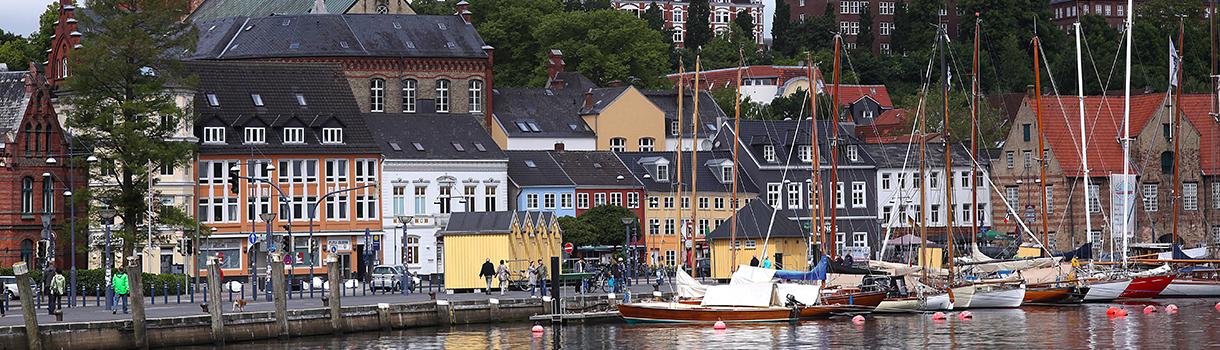 Blick auf den Museumshafen Flensburg